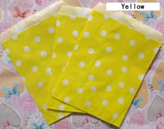 25 Pcs Yellow Polka Dot Treat Bags Wedding Party Food Safe Favor Paper Bags