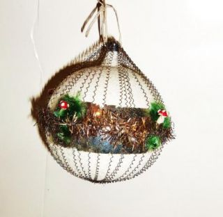 Vtg Glass Mica German Metal Wire Scrap Xmas Ornament Spun Cotton Mushroom Tinsel