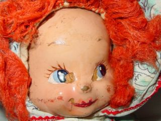 "Antique Three Face Composition Doll 14"" Vintage 3 Faced Swivel Head Baby Trudy"
