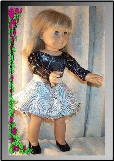 "Doll Clothes 18"" inch Ice Skate Dance Black White Silver Fit Girl"