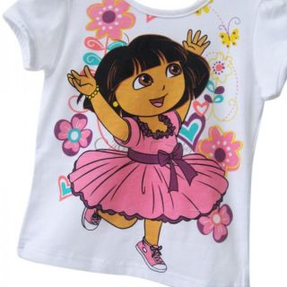 Girls Dora Top Shirt Sequins Tutu Dress Skirt 2pc Sets Costume Outfits 2 5 Years
