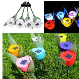 4 x Outdoor Yard Garden Path Solar Powered LED Tulip Landscape Lamp Light White