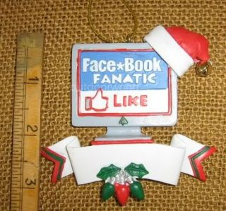 Kurt Adler Facebook Fanatic Internet Computer w Santa Hat Ornament New