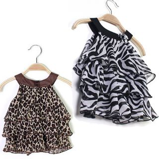 Hot Adorable Baby Girl Outfits Kid Toddler Leopard Zebra Chiffon Dress Clothes
