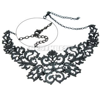 Fashion Black Chain Spray Paint Pattern Hollow Out Pendant Bib Necklace