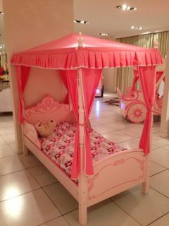 Girls Baby Pastel Pink Princess Single Size Bed with Canopy