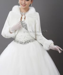 Bridal Ivory Faux Fur Long Sleeve Wrap Shrug Bolero Coat Wedding Party Shawl 15