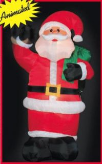 "96"" Airblown Inflatable Animated Waving Hand Santa Outdoor Yard Decoration New"