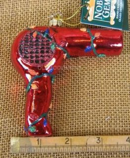 Glass Red Blow Dryer w Lights Hair Stylist Beautician Beauty Shop Ornament