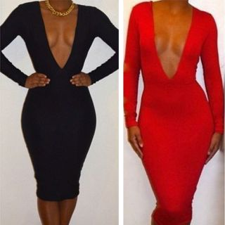 Hot Sexy Womens Deep V Neck Long Sleeve Party Evening Club Bodycon Bandage Dress