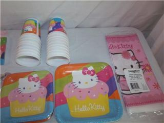 Girls Hello Kitty Birthday Party Lot Set Plates Invitations Cups