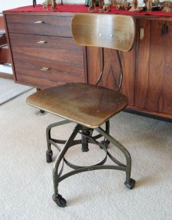 Vintage Uhl Toledo Antique Industrial Machine Age Stool Drafting Chair Steampunk