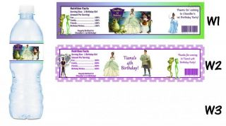Tiana Princess and The Frog Printed Water Bottle Labels Birthday Party Favors
