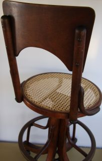 Vintage Industrial Adjustable Draftsman Wood Swivel Drafting Stool Shop Chair