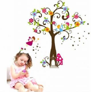 Fairy Tree Flowers Wall Sticker DIY Removable Vinyl Decal for Kid Nursery MFM01