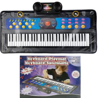Kids Electronic Musical Keyboard Play Mat Piano Songs Music Game Toy 61 Keys