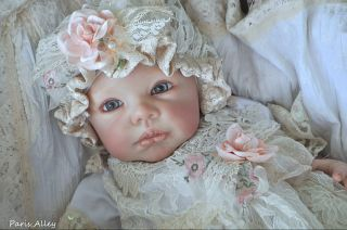 First Bloom French Lace Christening Dress Hat 4 Reborn Baby Doll