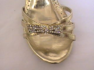 Girls Gold Dress Shoes Pageant Heels T 28 YT Sz 10