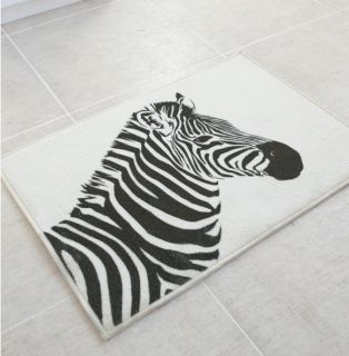 "Zebra Animal Print Bath Floor Kitchen Rug Carpet Black Mat 19 7""x27 5"""