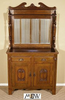 Antique English Oak Art Noveau Mirrorback Buffet Sideboard Server c1905 E47