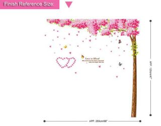Gaint Cherry Blossom Tree Wall Sticker Removable Vinyl Wall Decals Pink Flower