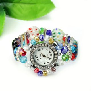 Crystal Murano Glass Beads Bracelet Bangle Round Watch