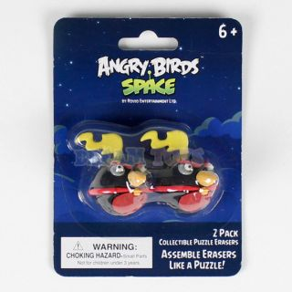 Rovio Angry Birds Space Assemble Puzzle Erasers 2pk Bomb Black Bird Licensed