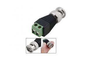 10sets CAT5 to BNC Coaxial Video Balun Male Female DC Power Connectors