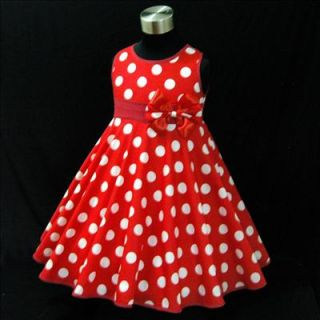 7D R3121 Girl Red Baby Minnie Mouse Polka Dot Christmas Party Girls Dress Sz 2 3