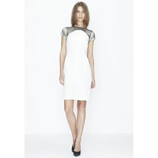 Rebecca Vallance White Silver Beading Dress BNWT Women's Designer Clothing