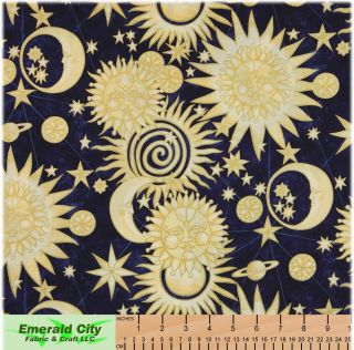 Alexander Henry Golden Luna Gold Cotton Quilt Fabric