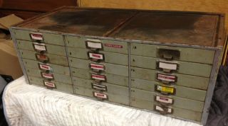 Industrial Machine Age Metal Machinist Tool Chest Cabinet Index File Storage