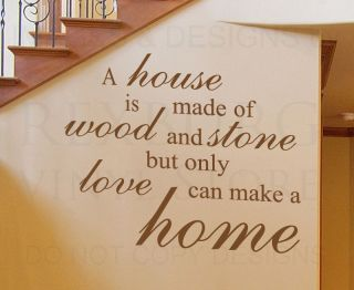 Wall Quote Decal Sticker Vinyl Lettering Only Love Can Make A Home Family F42