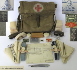 WWII Original German Army Medic First Aid Bag w Equipment RARE