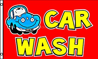 Car Wash Red Carwash Blue Car 3x5 Large Business Banner Sign Polyester Flag