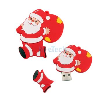 New 2GB 2G Santa Claus Cartoon Case USB 2 0 Flash Memory Drive Storage Red HK