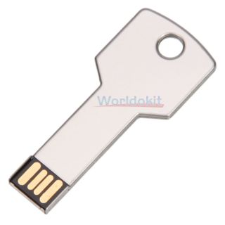 New and Nice 16GB 16g 16 GB Metal Key USB 2 0 Flash Memory Drive Silver White