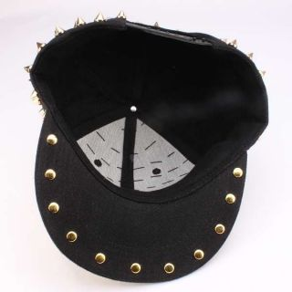 Black Red White Hedgehog Punk Hiphop Men Women Kid Gold Spikes Studded Rivet Cap