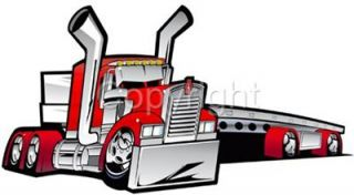 Cartoon Kenworth Big Rig Flatbed Truck Hauler Tshirt 2019