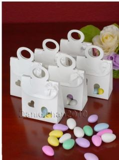 100pcs White Love Bomboniere Gifts Bags Candy Boxes Wedding Favors XT520