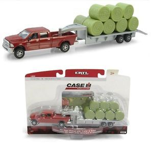 1 64 Ertl Red 2011 Dodge RAM 2500 Pickup Truck 5th Wheel Flatbed Trailer Bales