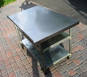 4' Commercial Kitchen Stainless Steel Top Food Preparation Table on Casters