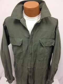 Coveralls Utility 100 Cotton US Army USMC Military OD Green Zip Mens Medium GC