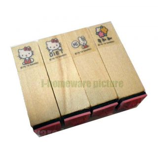 Hello Kitty Pictures Sanrio Party Supply Gift Wooden Stamps 4X Stampers H532