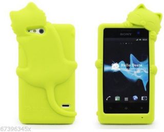 Cute Charming 3D Smile Cat Soft Silicone Cover Case for Sony Xperia Go ST27I