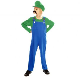 Childrens Work Man Like Super Mario Luigi Green Fancy Dress Costume Kids Outfit