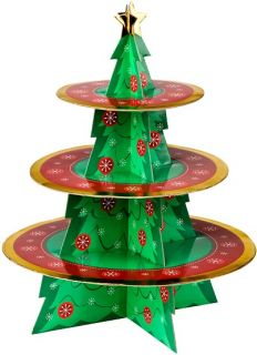 3 Tier Christmas Tree Cake Stand Cupcake Muffin Holder New Cardboard Finish