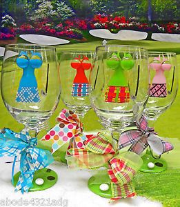 Golf Lady Themed Hand Painted Wine Glasses Ladies Golf Game Gift Fun Womens