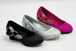 Girls Children Ballet Flat Low Heel Wedge Pageant Glitter Floral New Youth Shoes