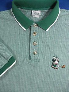 Green White Mickey Mouse Golf Logo Polo Shirt Men's M Damaged